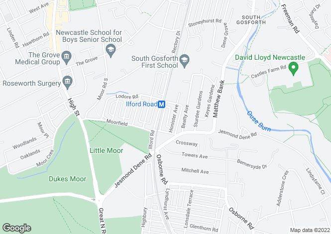 Map for Albury Road, High West Jesmond, Newcastle-upon-Tyne, Tyne and Wear