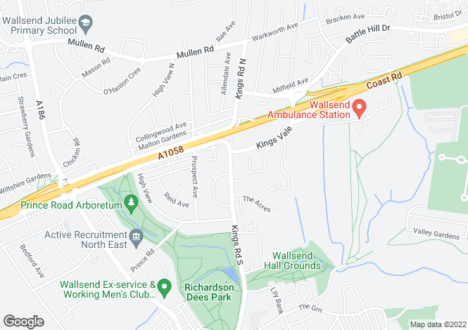 Map for Kings Road, Wallsend NE28