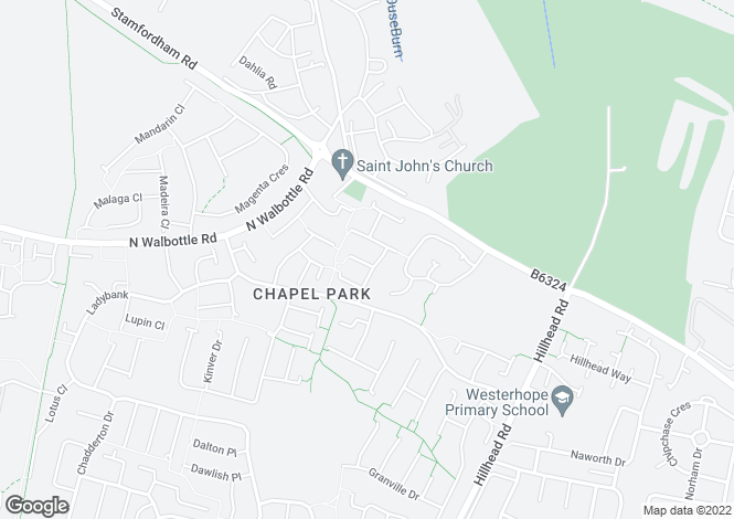 Map for Ingram Drive, Chapel Park, Newcastle upon Tyne