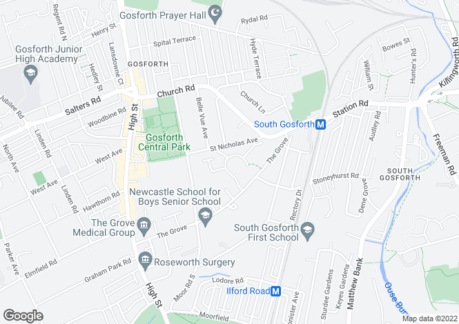 Map for Grove Park Oval, Gosforth, Newcastle Upon Tyne, Tyne and Wear