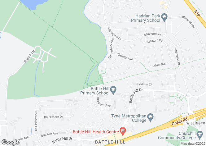 Map for Canterbury Avenue, Wallsend, Tyne And Wear, NE28