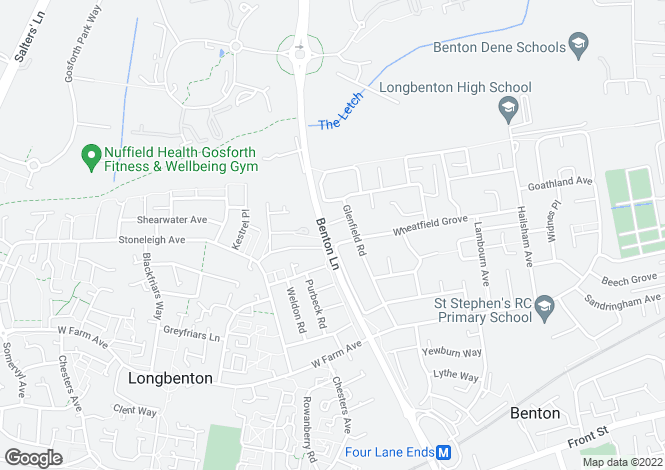 Map for Benton Lane, Longbenton