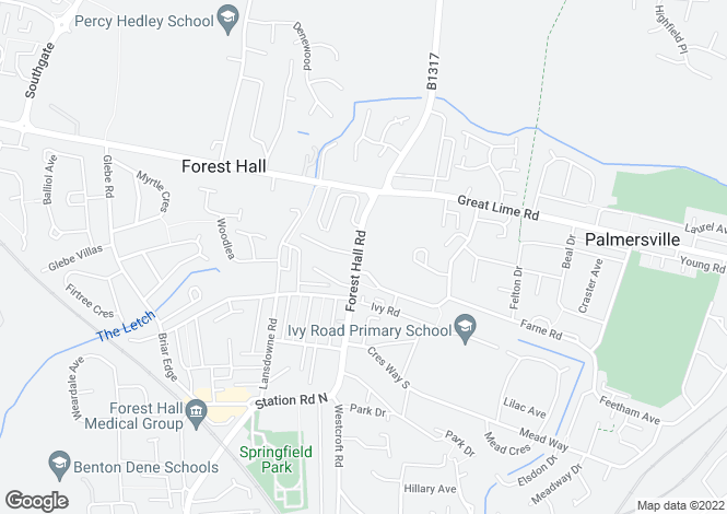 Map for Forest Hall Road, Newcastle upon Tyne, NE12