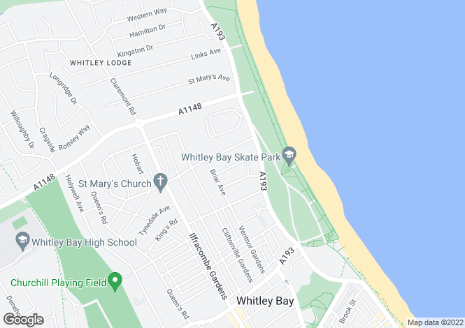 Map for Glendale Avenue, Whitley Bay, NE26