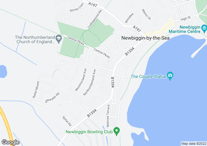 Map for Maitland Terrace, Newbiggin by the Sea, Northumberland