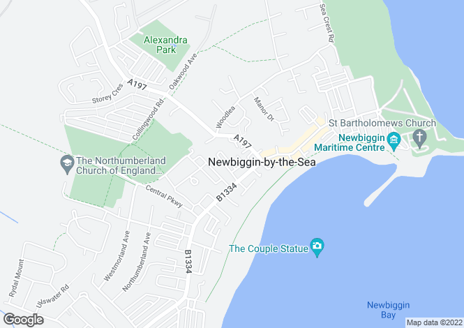 Map for Locarno Place, Newbiggin By The Sea