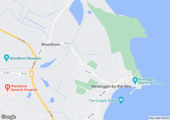 Map for Woodhorn Farm, Newbiggin By The Sea