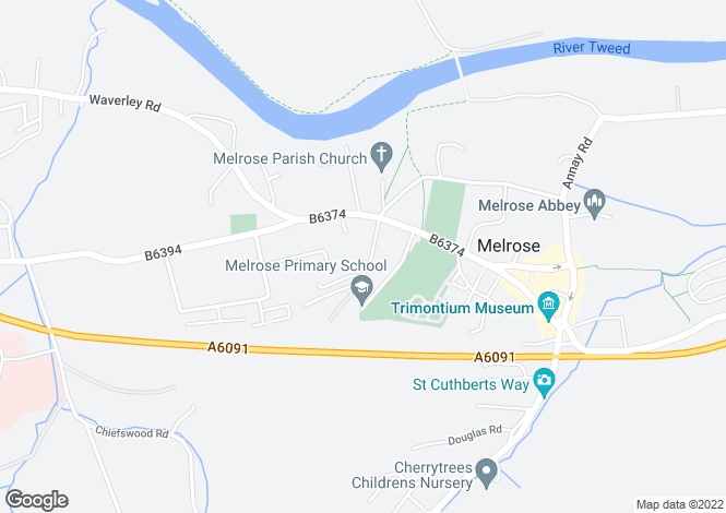 Map for Birdsfield, Huntly Road, Melrose, Roxburghshire, Scottish Borders