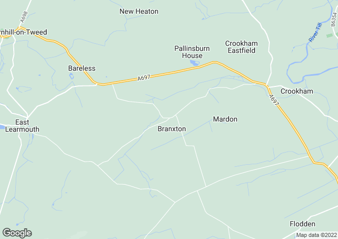 Map for Branxton, Cornhill-on-Tweed, Northumberland
