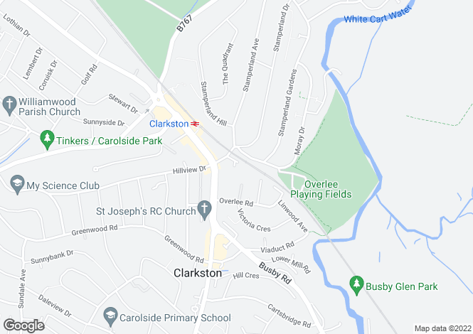 Map for Strawhill Road, Clarkston, Glasgow, G76