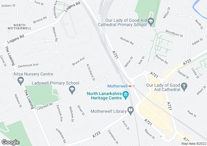 Map for James Street, Motherwell, ML1 3JP