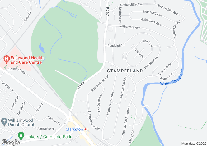 Map for Stamperland Crescent, Clarkston, Glasgow