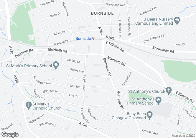 Map for Douglas Avenue, Burnside, Glasgow, Lanarkshire