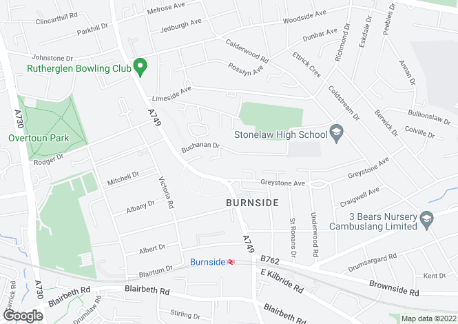 Map for Buchanan Drive, Burnside, Glasgow, South Lanarkshire