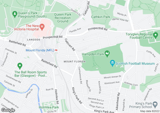 Map for Somerville Drive, Mount Florida, Glasgow