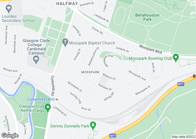 Map for Balerno Drive, Mosspark