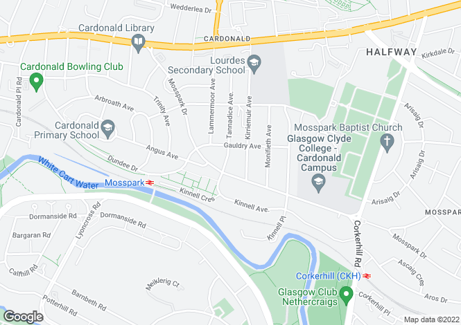 Map for 84 Tannadice Avenue <br> Cardonald, Glasgow