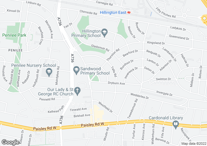 Map for Merton Drive, Hillington, Glasgow