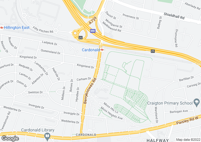 Map for Berryknowes Road, Cardonald, Glasgow