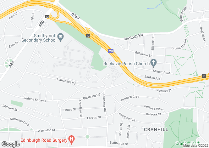 Map for Lethamhill Crescent, Riddrie, Glasgow