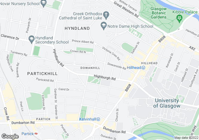 Map for Dowanhill Street, Dowanhill, Glasgow