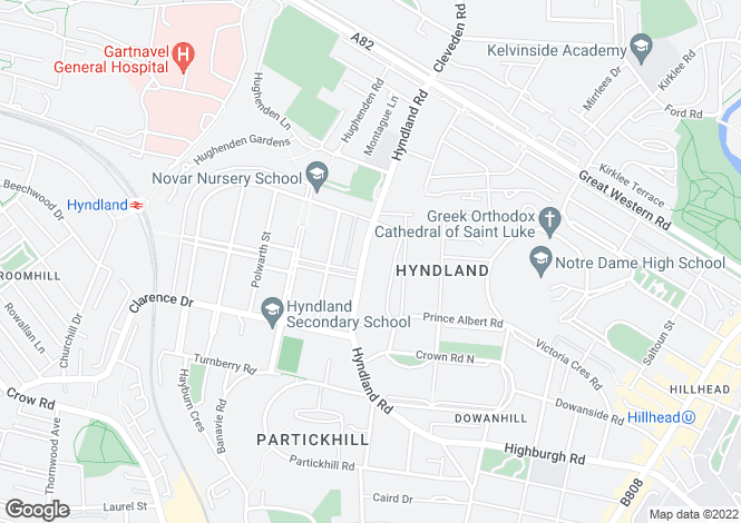 Map for Hyndland Road, Hyndland