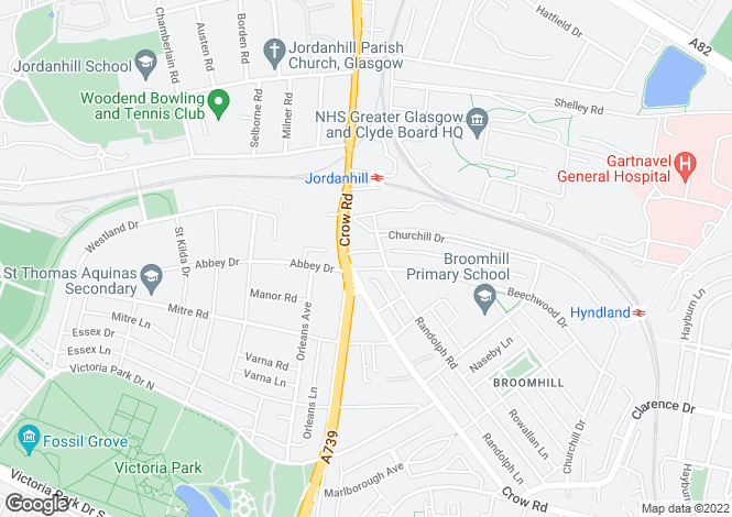 Map for Beechwood Drive, Broomhill, Glasgow