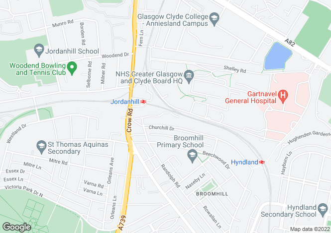 Map for 30 Churchill Court, Broomhill, G11 7DE