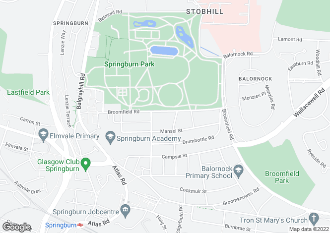 Map for 1/2, 172 Broomfield Road, Springburn, G21 3UF