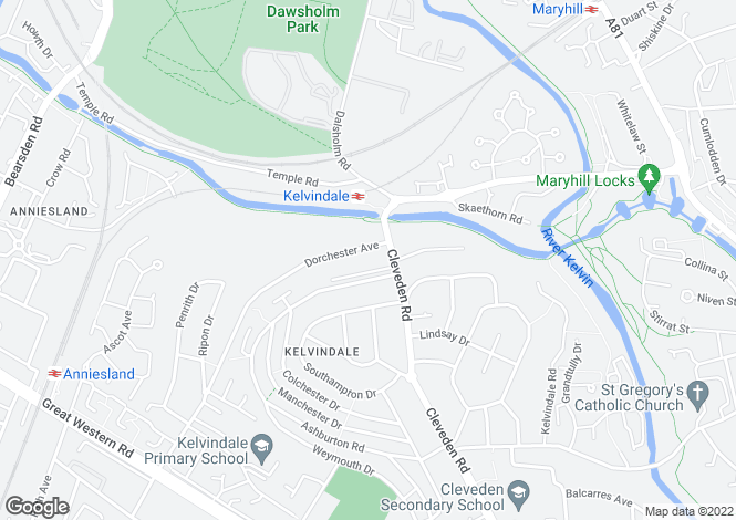 Map for Dorchester Avenue, Kelvindale, Glasgow, Lanarkshire, G12 0EG