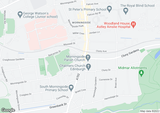 Map for Belhaven Terrace, Morningside, Edinburgh