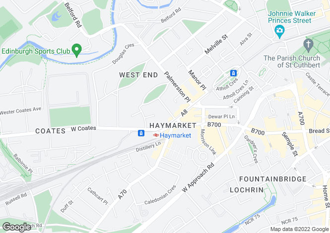 Map for 8 Grosvenor Street, Haymarket, Edinburgh, EH12 5EG