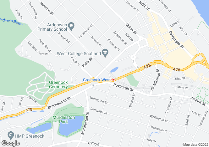 Map for Nelson Street, GREENOCK, PA15