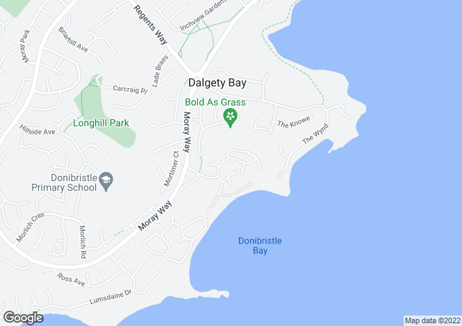 Map for Donibristle Gardens, Dalgety Bay, Dunfermline, KY11