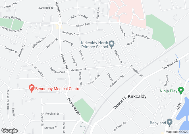 Map for Meldrum Court, Meldrum Road <br> Kirkcaldy, Fife