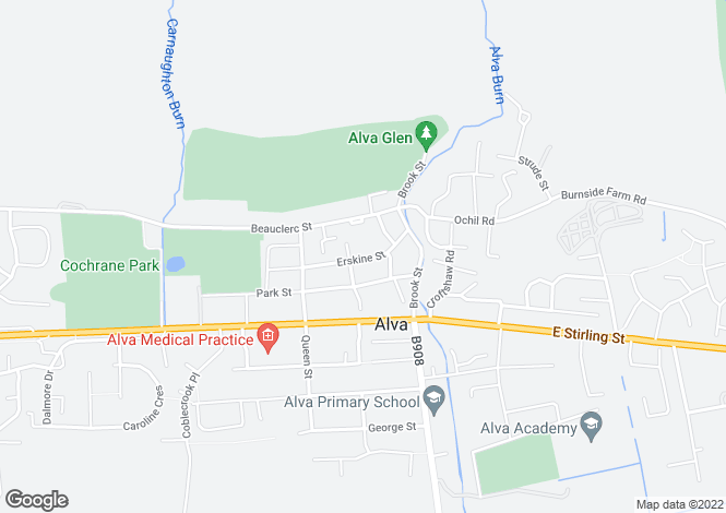 Map for Erskine Street, ALVA, Clackmannanshire