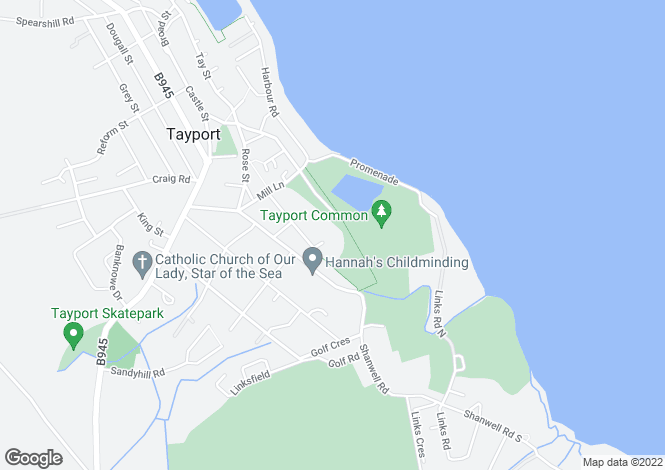 Map for 7, Lochside Gardens, Tayport, Fife