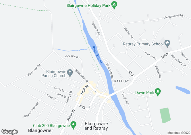 Map for Riverside Park, Blairgowrie PH10
