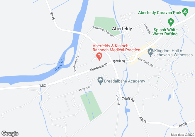 Map for Foxlands, 43a Kenmore Street, Aberfeldy, Perthshire PH15 2BL