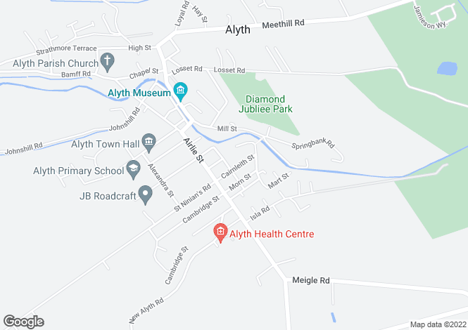 Map for Cairnleith Street, Alyth