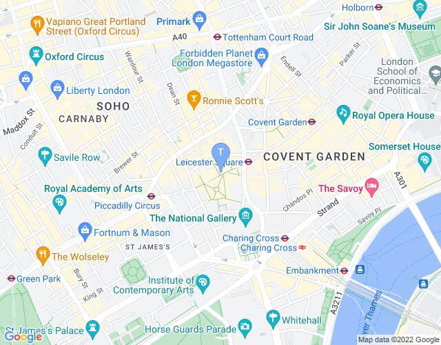 Location map for Leicester Square Theatre