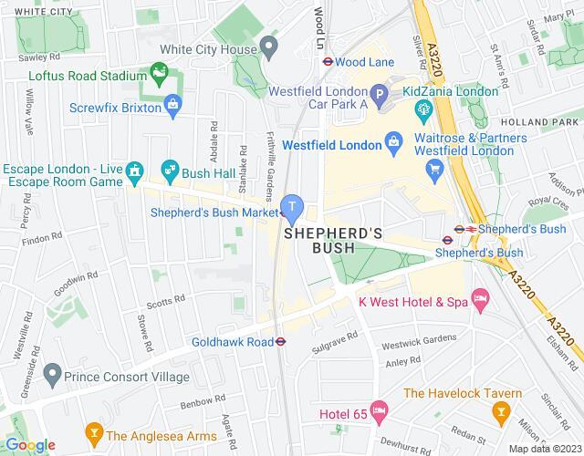 Location map for Bush Theatre