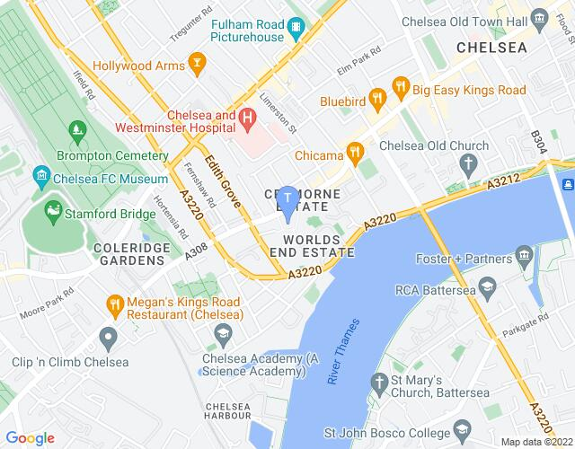 Location map for Chelsea Theatre