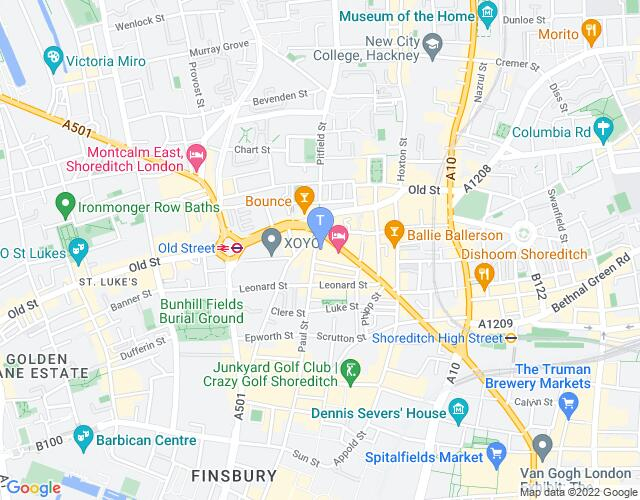 Location map for The East London Fringe Festival 2017