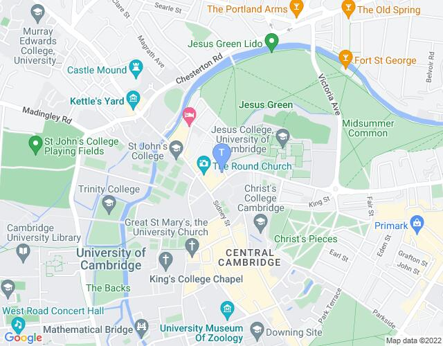 Location map for Cambridge Drama Festival 2019