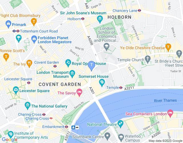 Location map for Novello Theatre