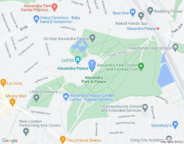 Location map for Alexandra Palace