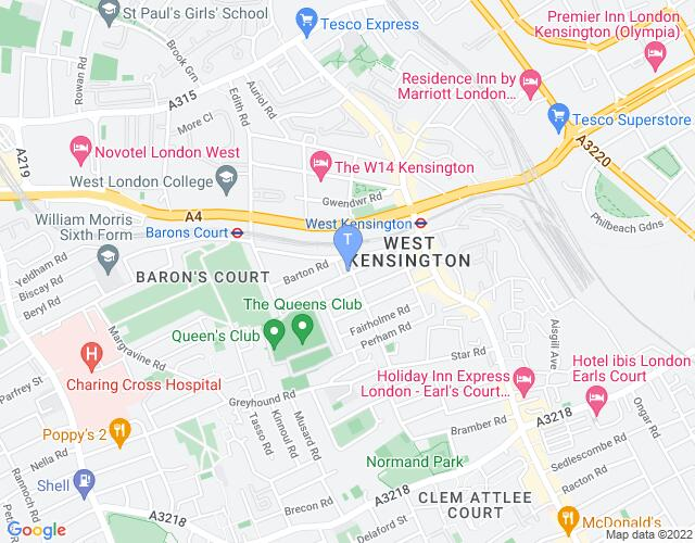 Location map for Barons Court Theatre