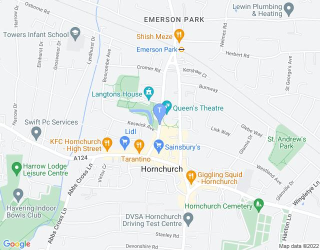 Location map for Queen's Theatre Hornchurch