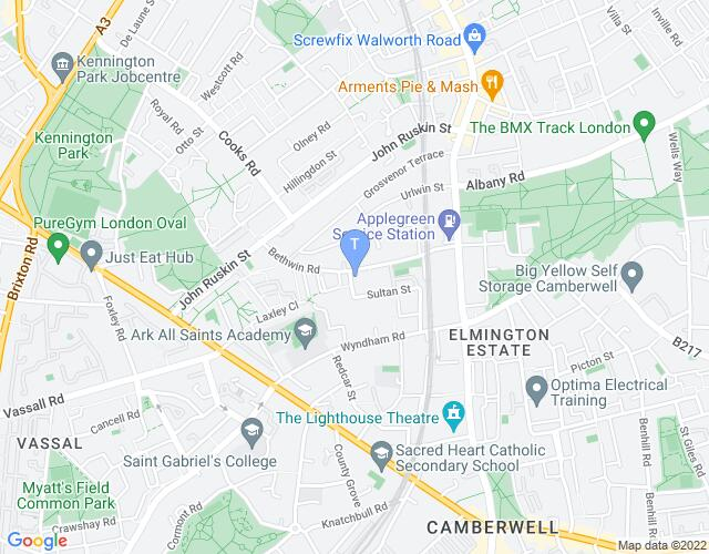 Location map for Blue Elephant Theatre